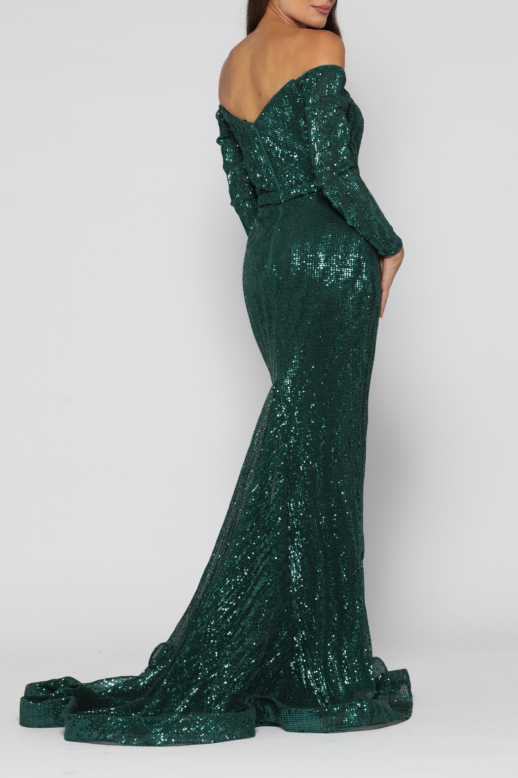 YSS the Label Veronica Gown Emerald - Side Cropped Image