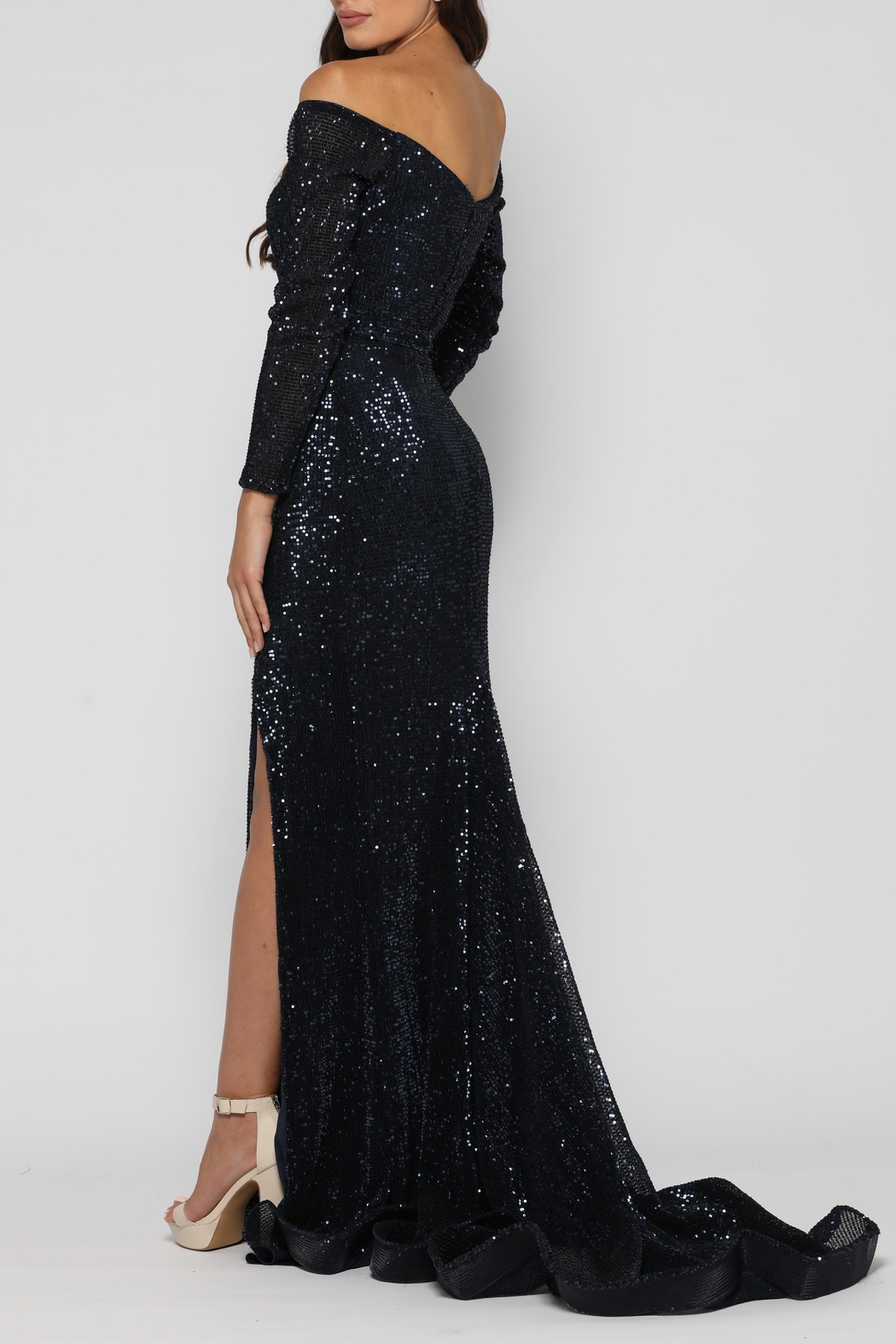 YSS the Label Veronica Gown Navy - Side Cropped Image