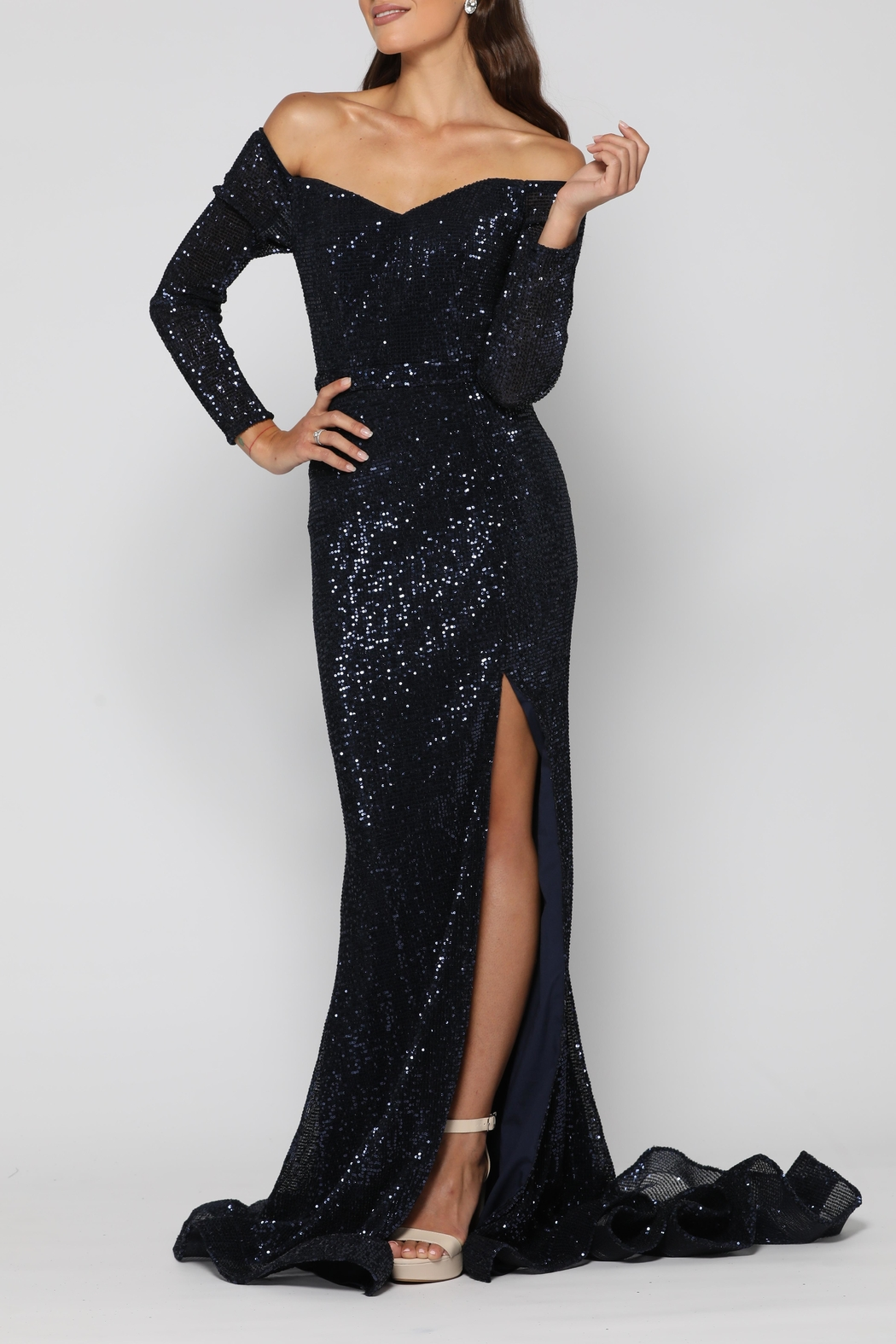 YSS the Label Veronica Gown Navy - Front Full Image