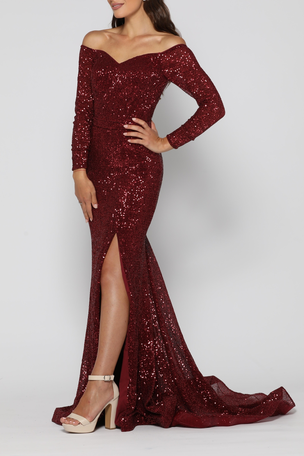YSS the Label Veronica Gown Wine - Front Full Image