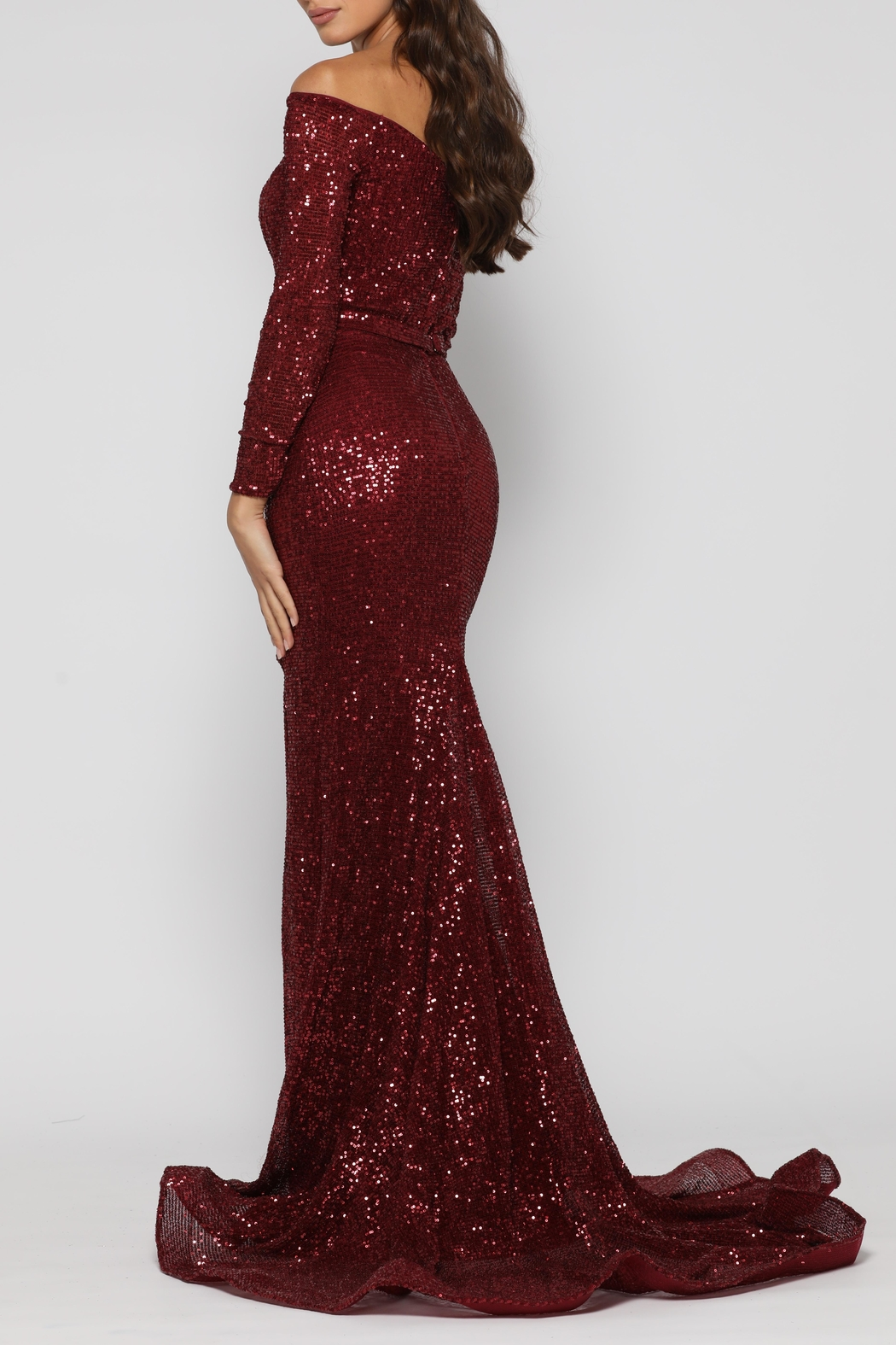 YSS the Label Veronica Gown Wine - Side Cropped Image