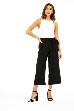 Veronica M Black Culotte Pant with Tie - Product List Image