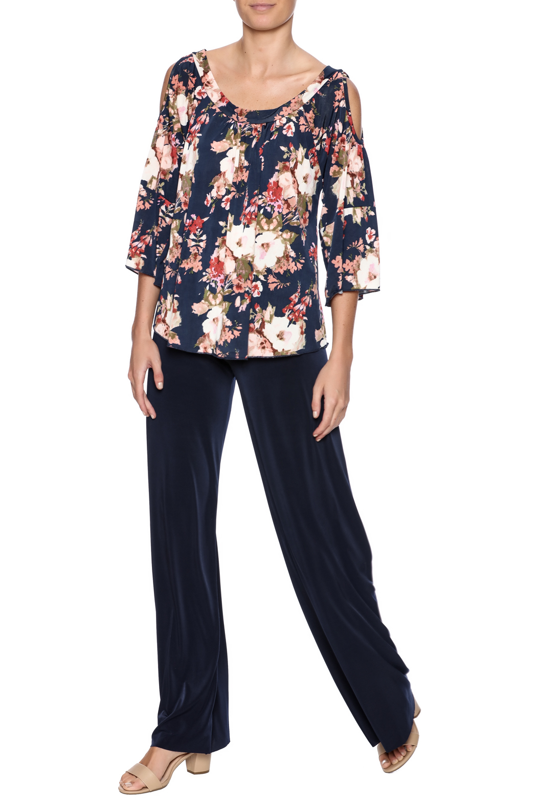 Veronica M Cold Shoulder Floral Top - Front Full Image