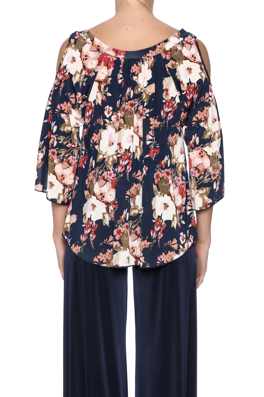 Veronica M Cold Shoulder Floral Top - Back Cropped Image