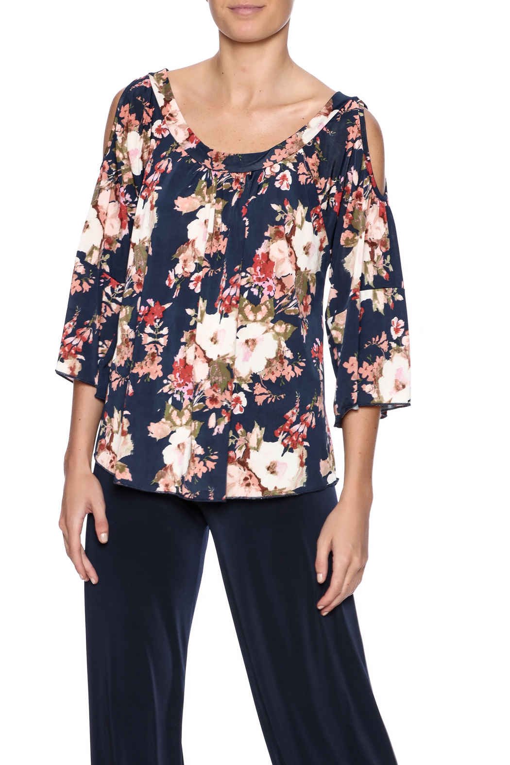 Veronica M Cold Shoulder Floral Top - Main Image