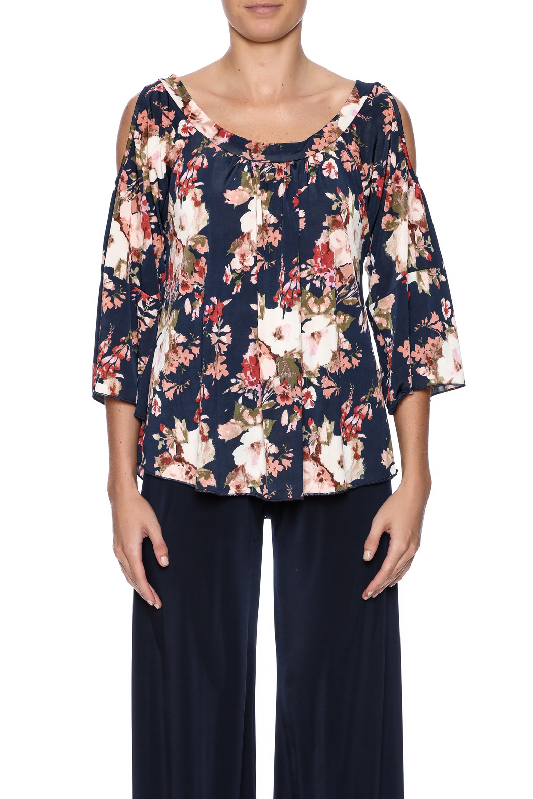 Veronica M Cold Shoulder Floral Top - Side Cropped Image