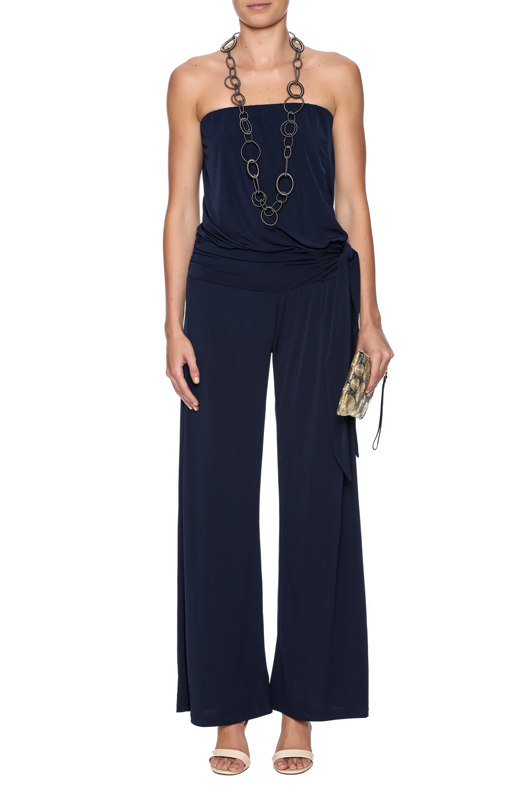 Veronica M Navy Jumpsuit - Front Cropped Image
