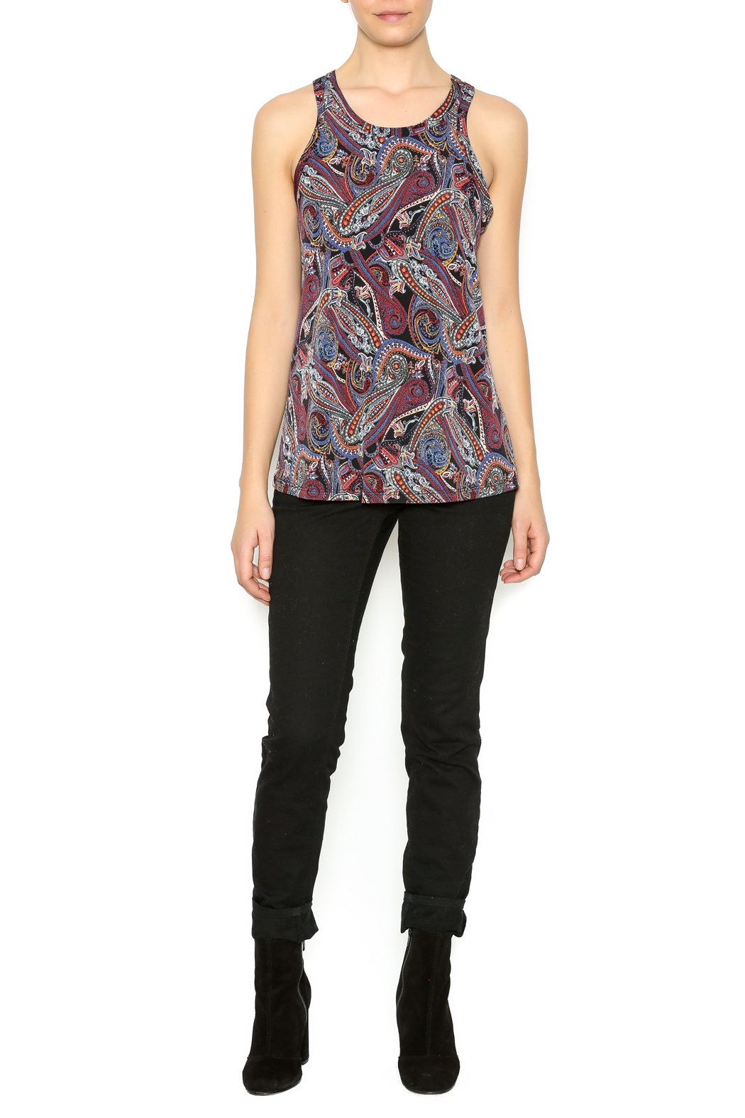 Veronica M Paisley Printed Tank - Front Full Image