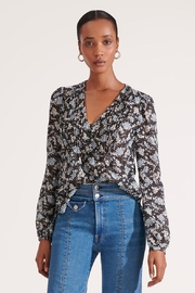 Veronica Beard Lowell Blouse Black-Multi - Product Mini Image