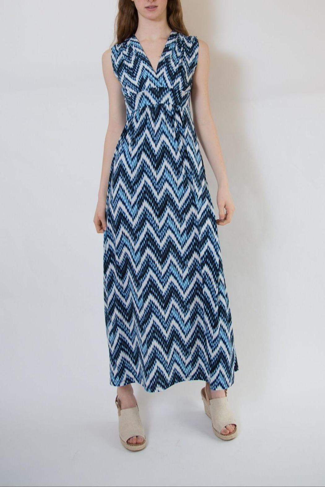 Veronica M Blue Multi Maxi Dress - Front Full Image