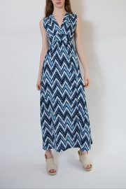 Veronica M Blue Multi Maxi Dress - Front full body
