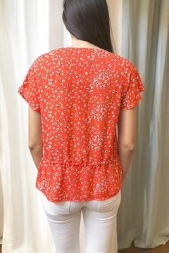 Veronica M Coral-Print  Drawstring Top - Alternate List Image
