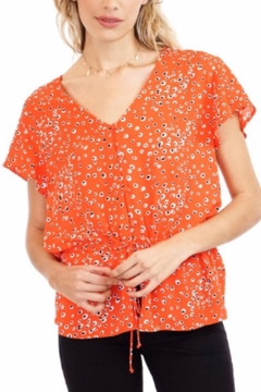 Veronica M Coral-Print  Drawstring Top - Product List Image