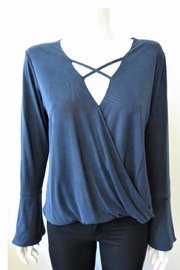 Veronica M Criss-Cross Sueded Top - Front full body
