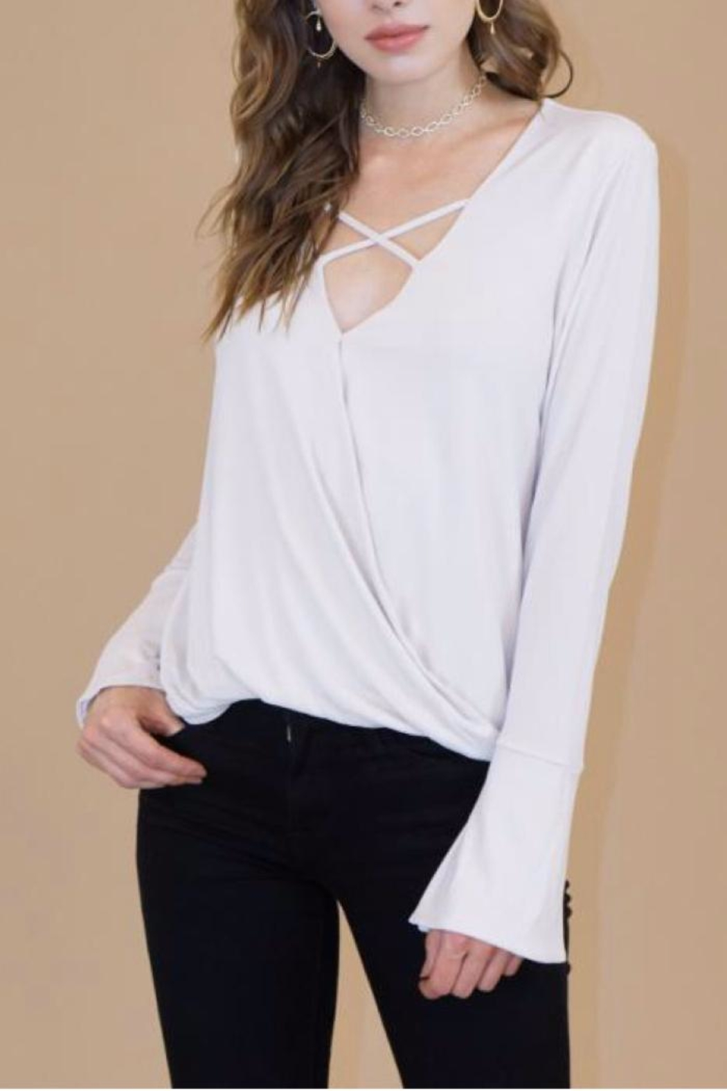 Veronica M Criss-Cross Sueded Top - Main Image