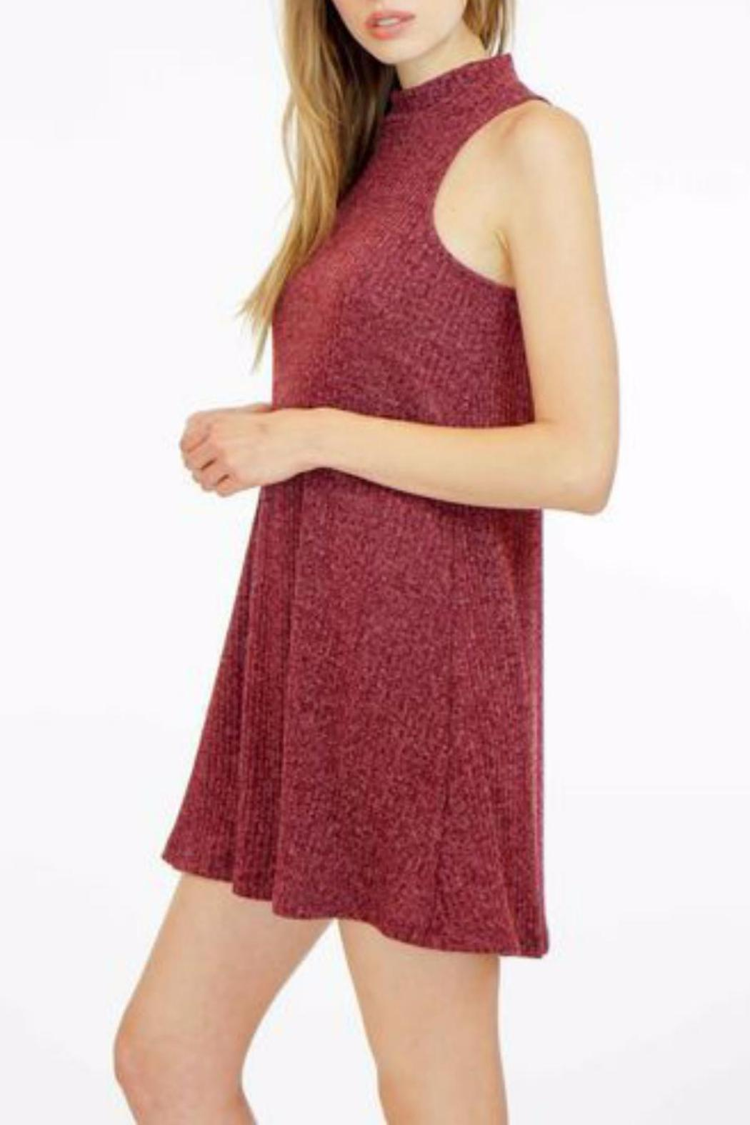 Veronica M High Neck Ribbed Sweater Dress - Front Full Image