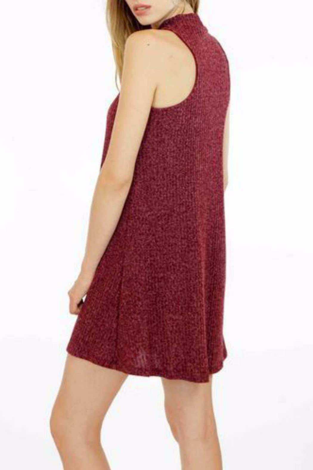 Veronica M High Neck Ribbed Sweater Dress - Side Cropped Image