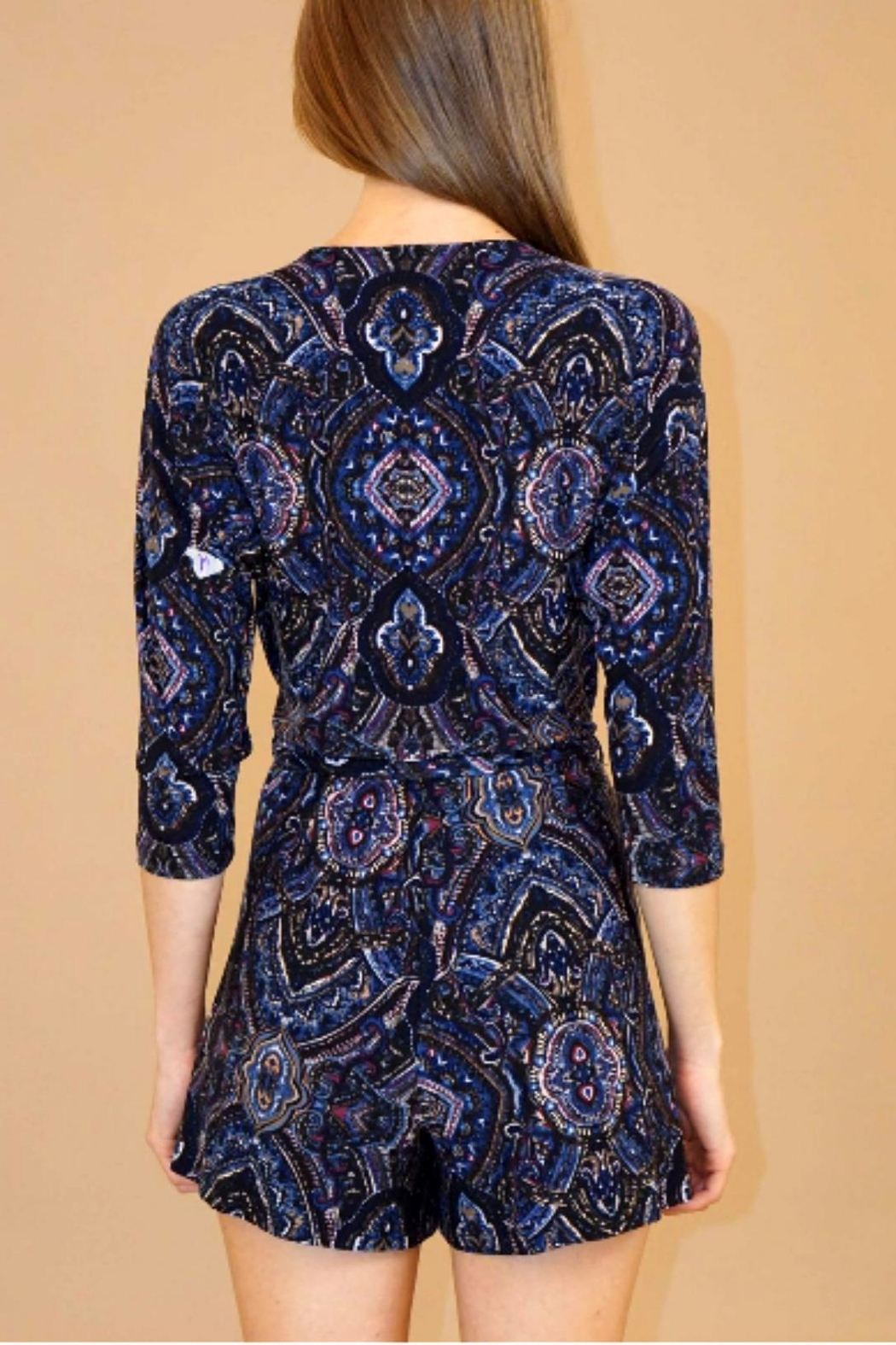 Veronica M Navy Paisley Romper - Front Full Image