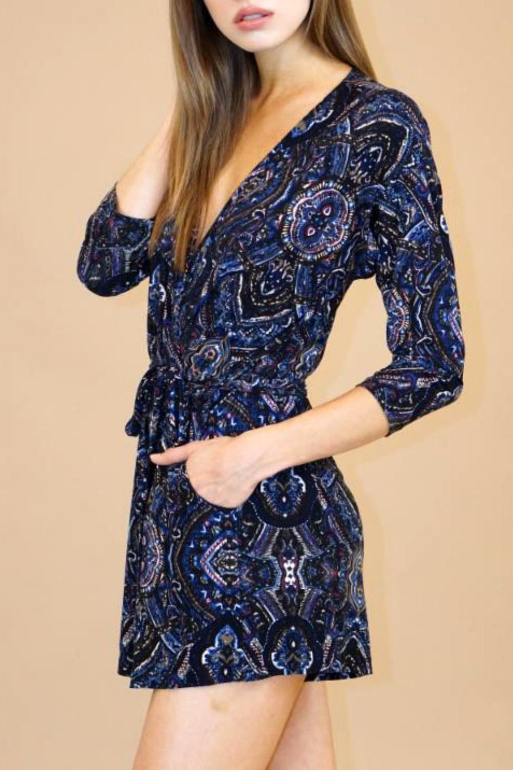 Veronica M Navy Paisley Romper - Front Cropped Image