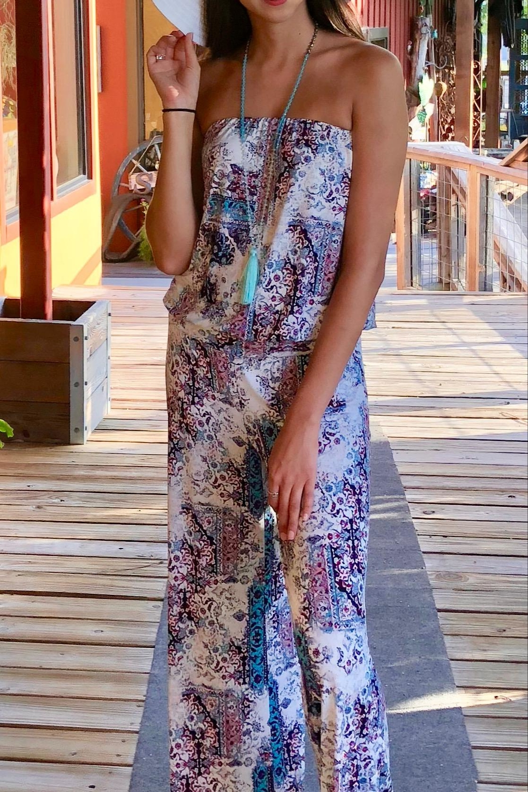 Veronica M Strapless Print Jumpsuit - Front Full Image