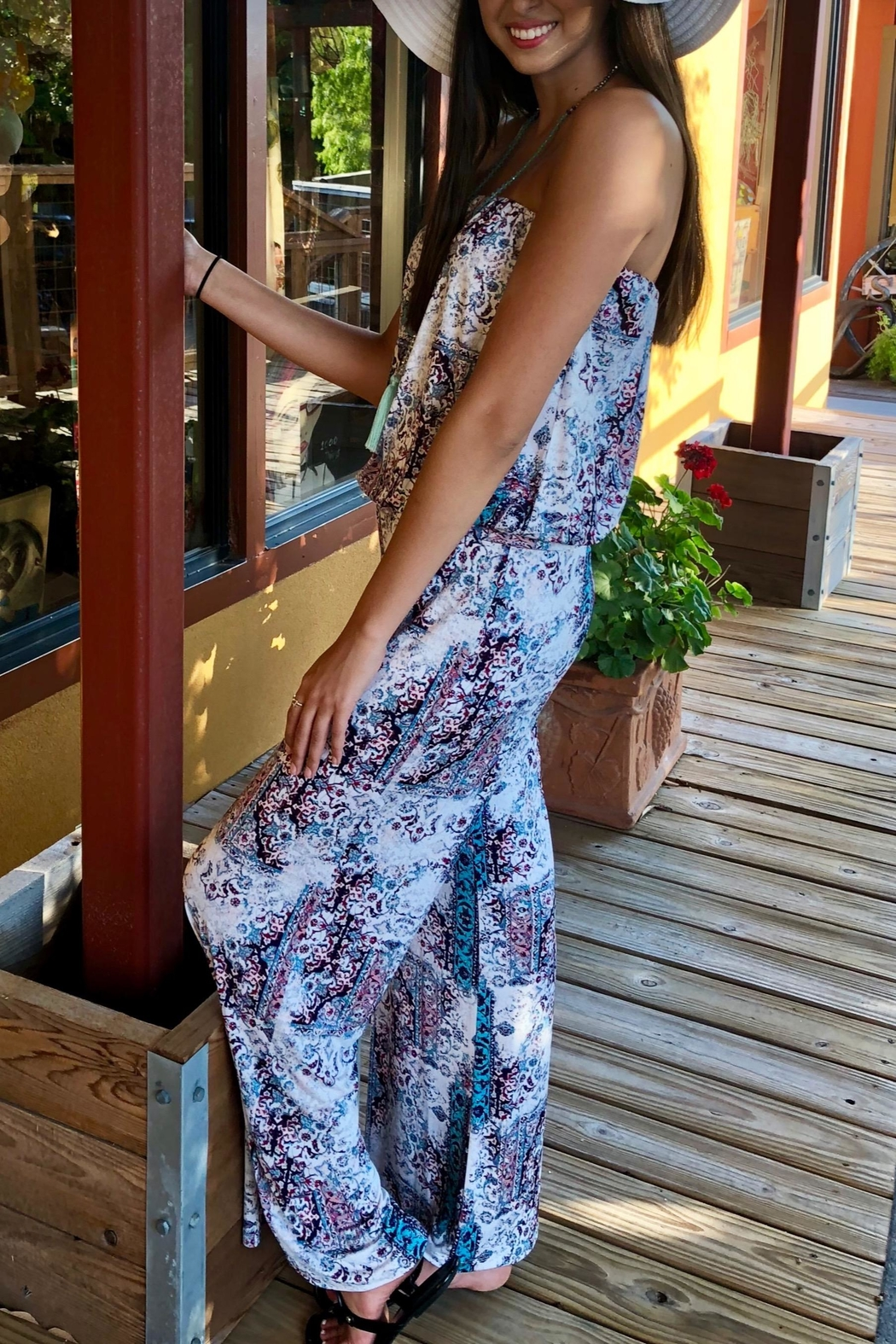 Veronica M Strapless Print Jumpsuit - Side Cropped Image