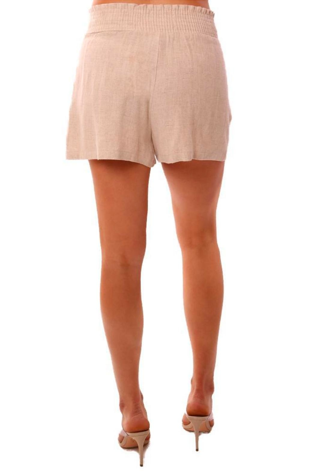 Veronica M Smocked Linen Shorts - Back Cropped Image