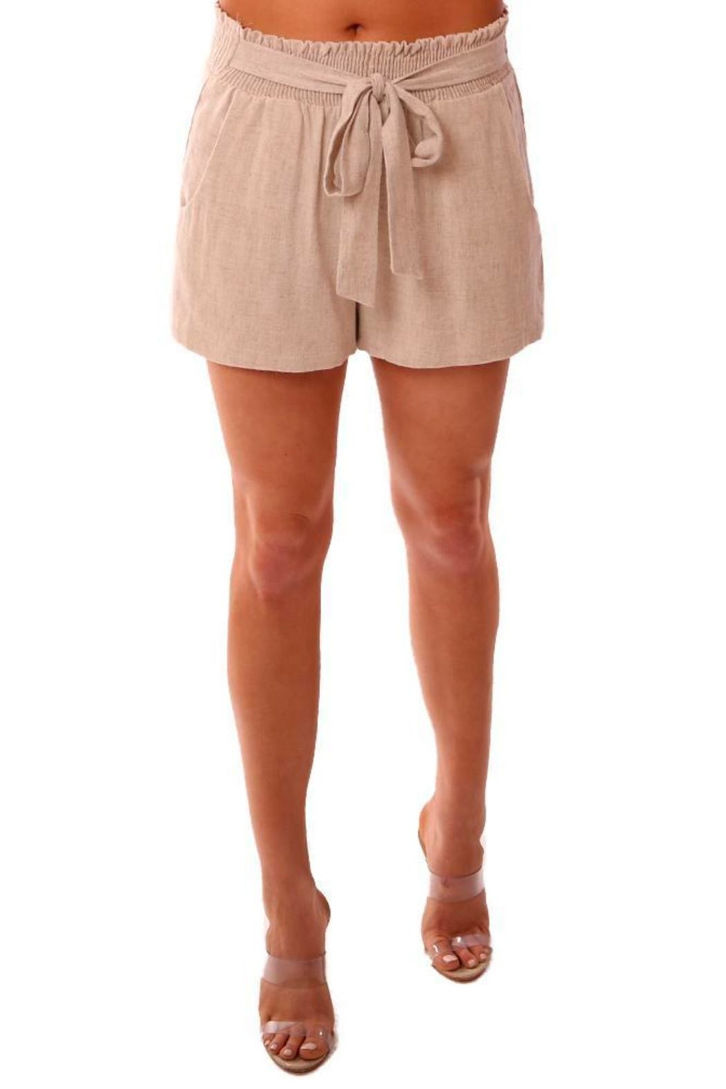 Veronica M Smocked Linen Shorts - Front Full Image