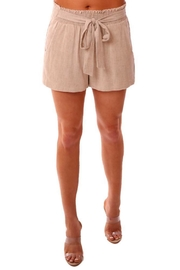 Veronica M Smocked Linen Shorts - Front full body