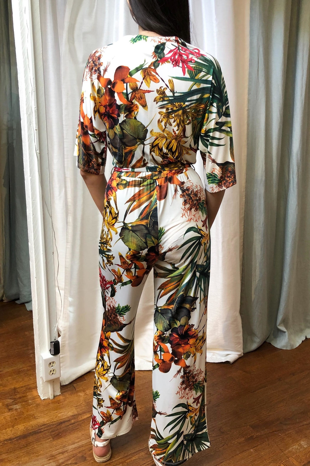 Veronica M Tropical Print Jumpsuit - Side Cropped Image