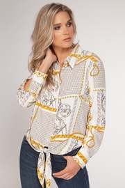 Black Tape Versace Print Tie Bottom Blouse - Front cropped