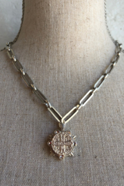 French Kande lariat silver necklace with Saint Benedict medallion - Product Mini Image