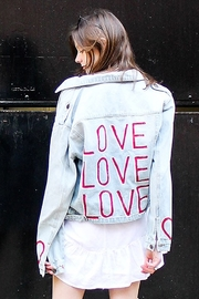Avery Rowan Art Vertical Red Love Back on Light Blue Jacket - Product Mini Image