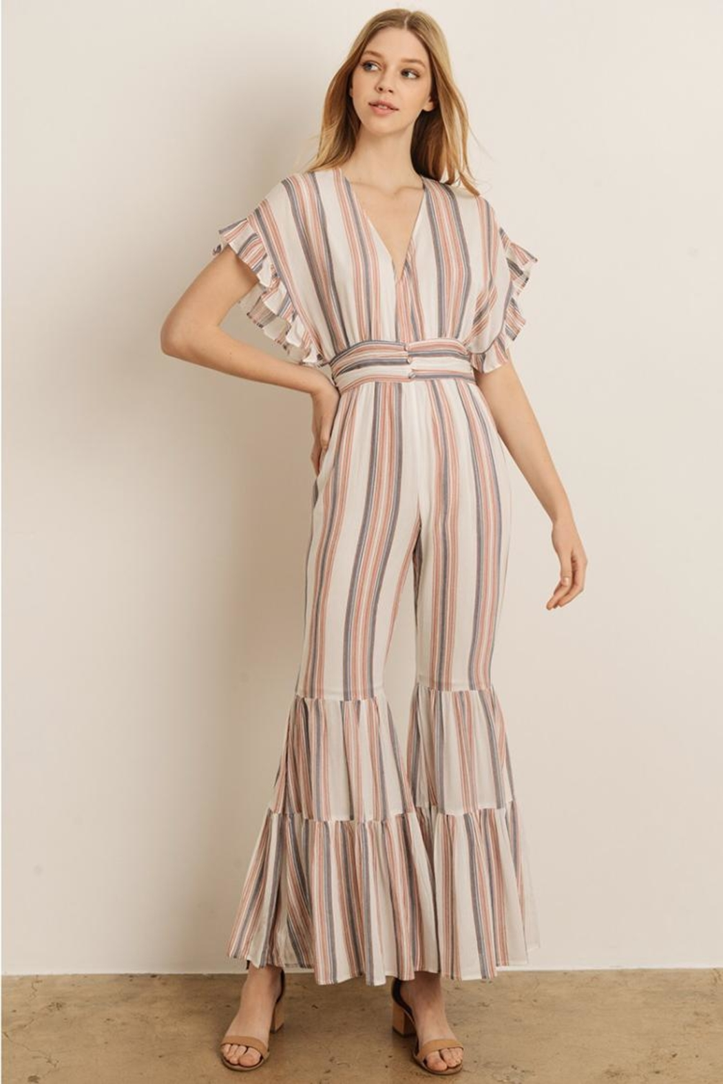 b7f3d8adf2fad storia Vertical Stripe Jumpsuit from Los Angeles by Chikas — Shoptiques