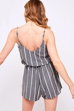 Fantastic Fawn  Vertical Stripe Knit Sleeveless Tie Waist Romper - Alternate List Image