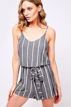 Fantastic Fawn  Vertical Stripe Knit Sleeveless Tie Waist Romper - Product List Image