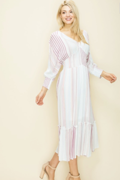 Glam Vertical Stripe Ruffle Midi Dress - Product List Image