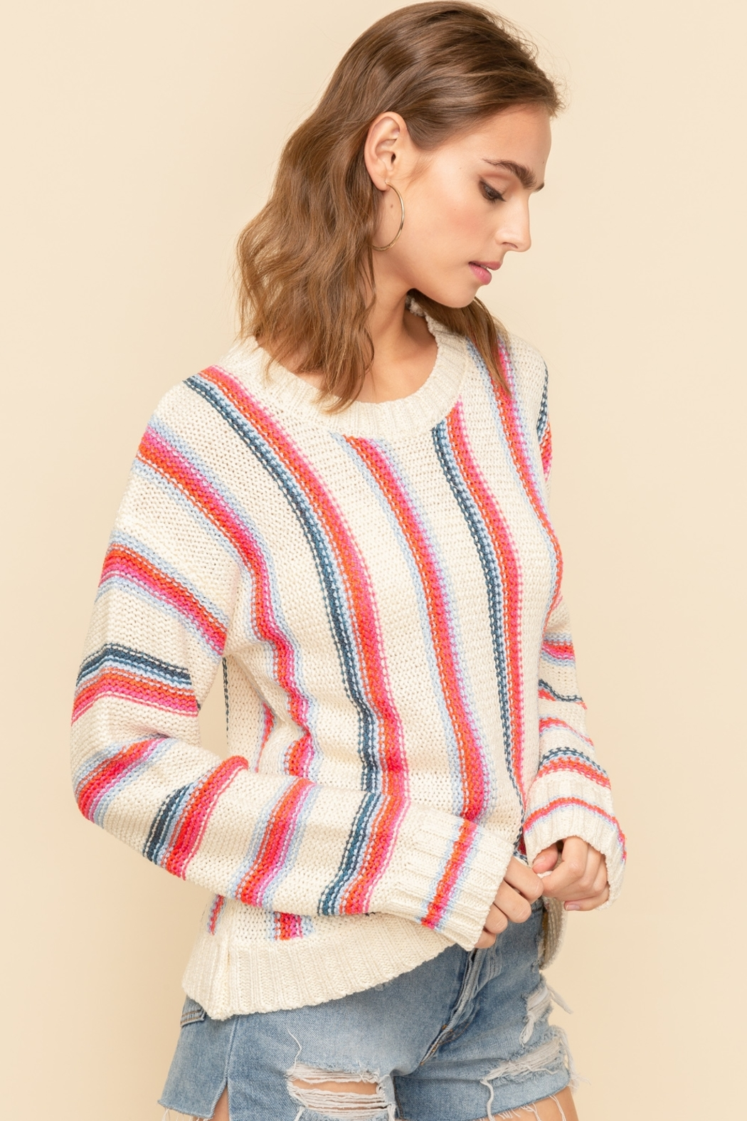 Hem and Thread Vertical Stripe Sweater - Front Full Image