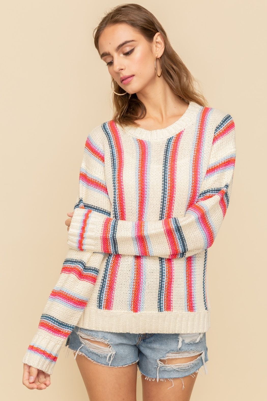 Hem and Thread Vertical Stripe Sweater - Main Image