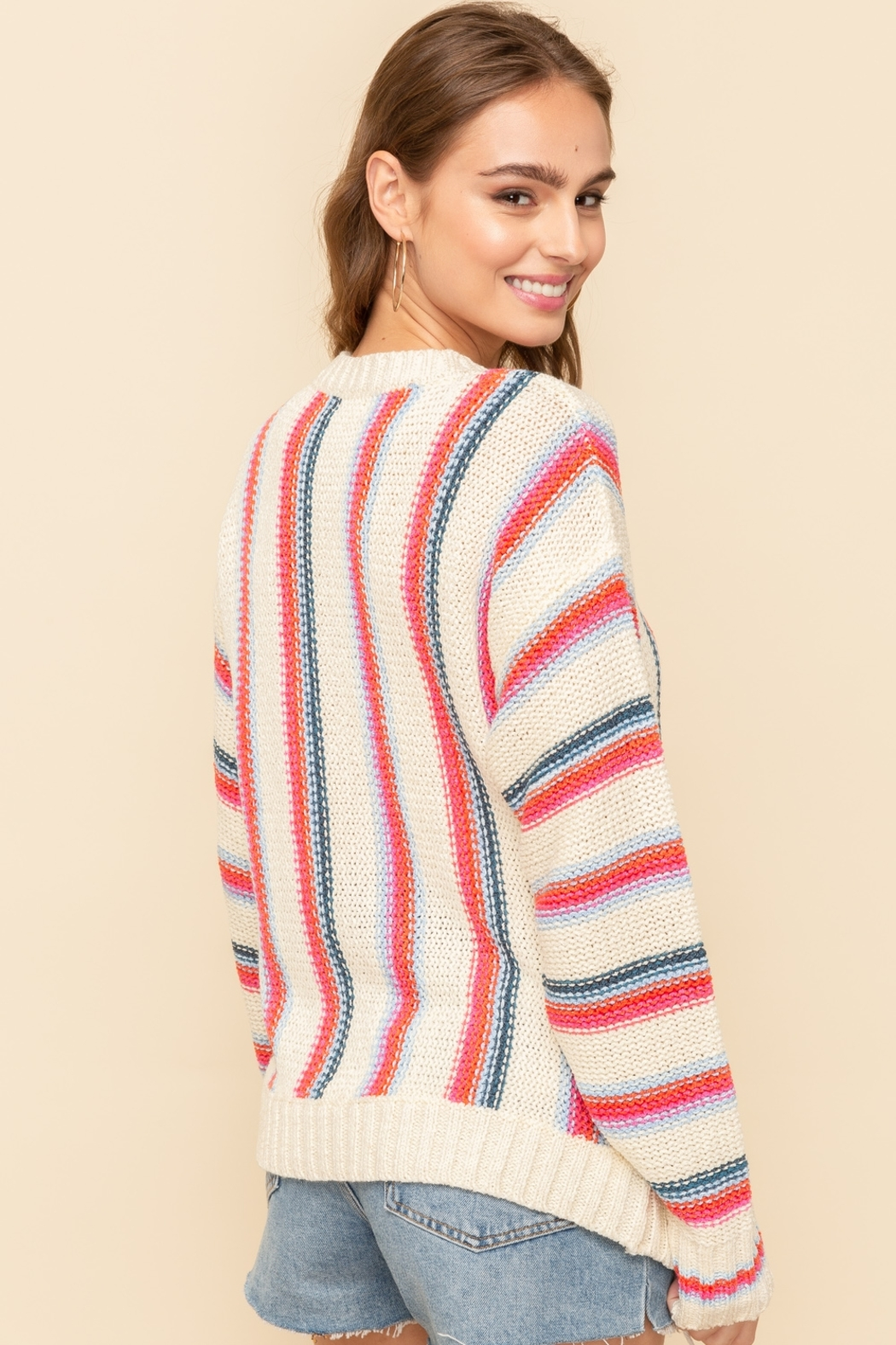 Hem and Thread Vertical Stripe Sweater - Side Cropped Image