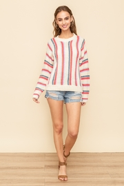 Hem and Thread Vertical Stripe Sweater - Back cropped