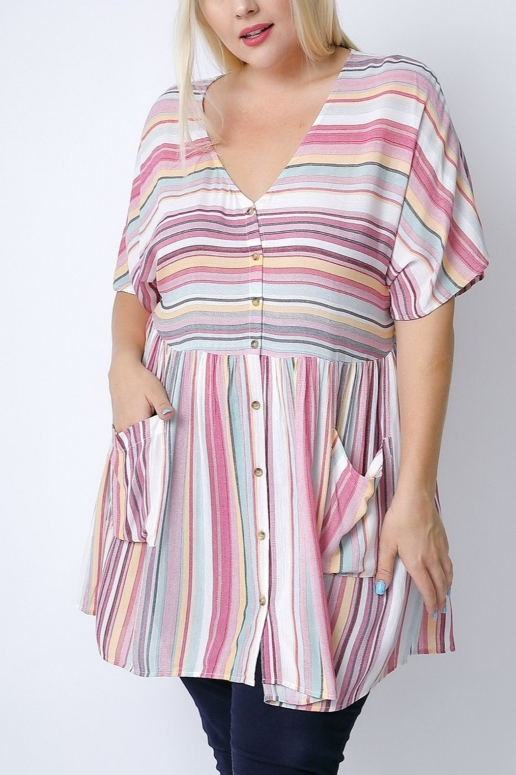 Lyn -Maree's Vertical Stripe Tunic - Main Image