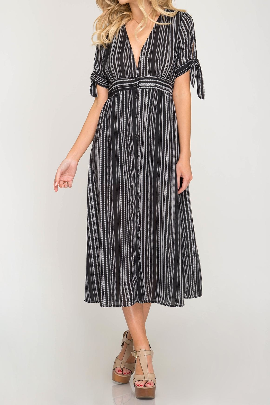She + Sky Vertical Striped Dress - Main Image
