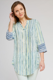 Nic + Zoe Vertical Striped  Green Top - Product Mini Image