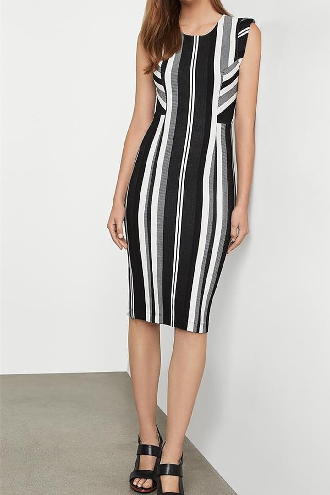 BCBG MAXAZRIA Vertical Striped Sheath Dress - Front Cropped Image