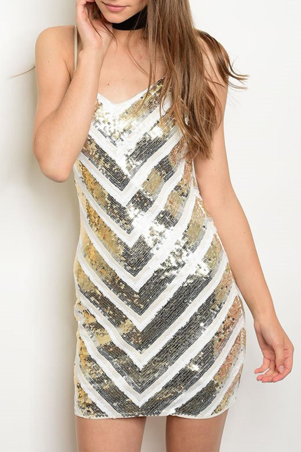 Verty Ivory Sequins Dress - Front Cropped Image