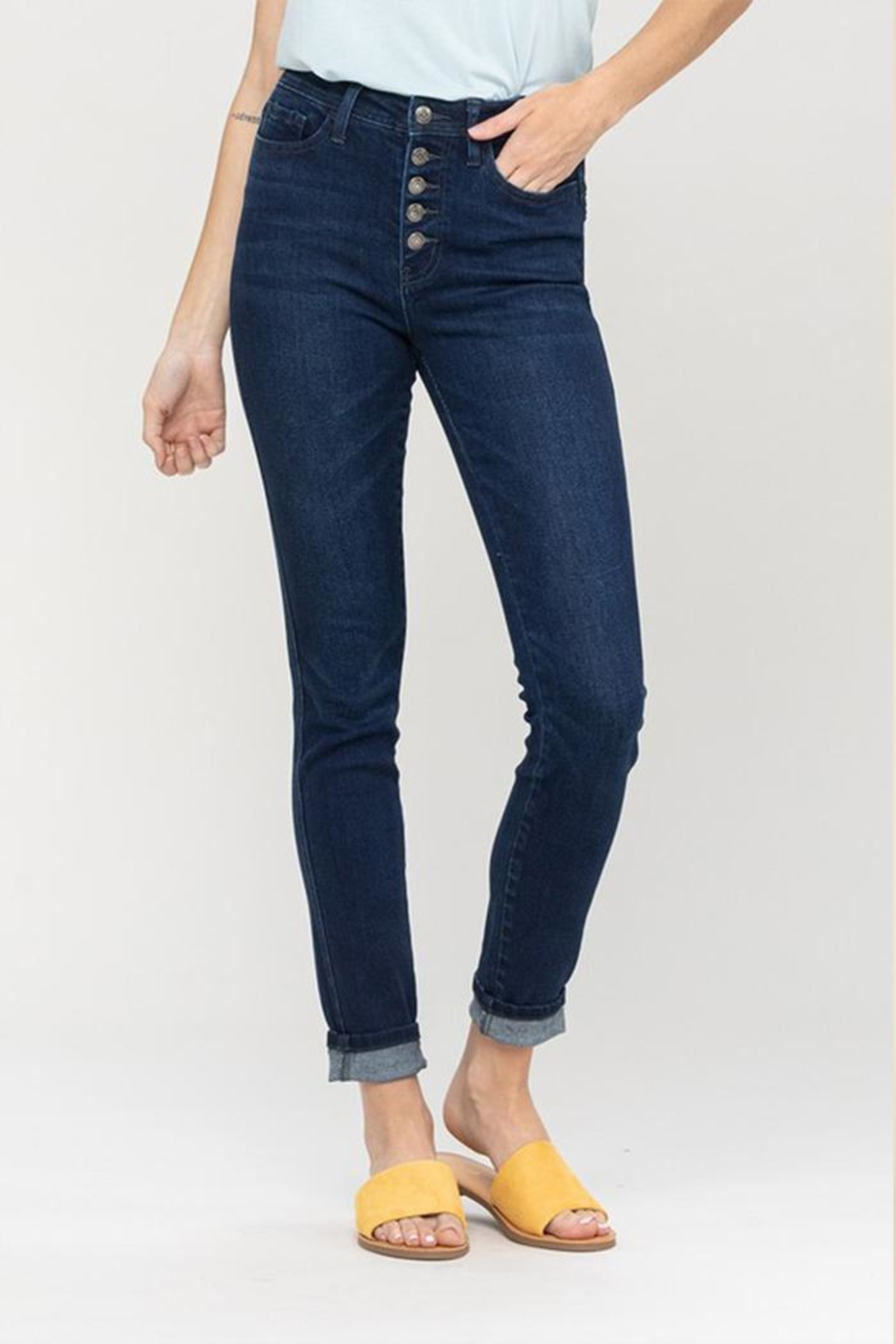 Vervet High-Rise Button Jeans - Front Cropped Image