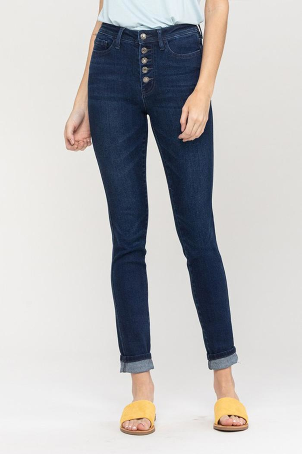 Vervet High-Rise Button Jeans - Side Cropped Image