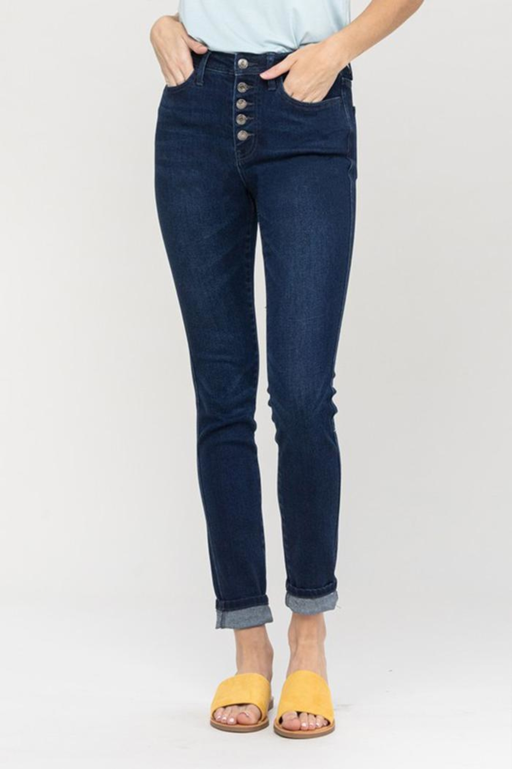 Vervet High-Rise Button Jeans - Front Full Image
