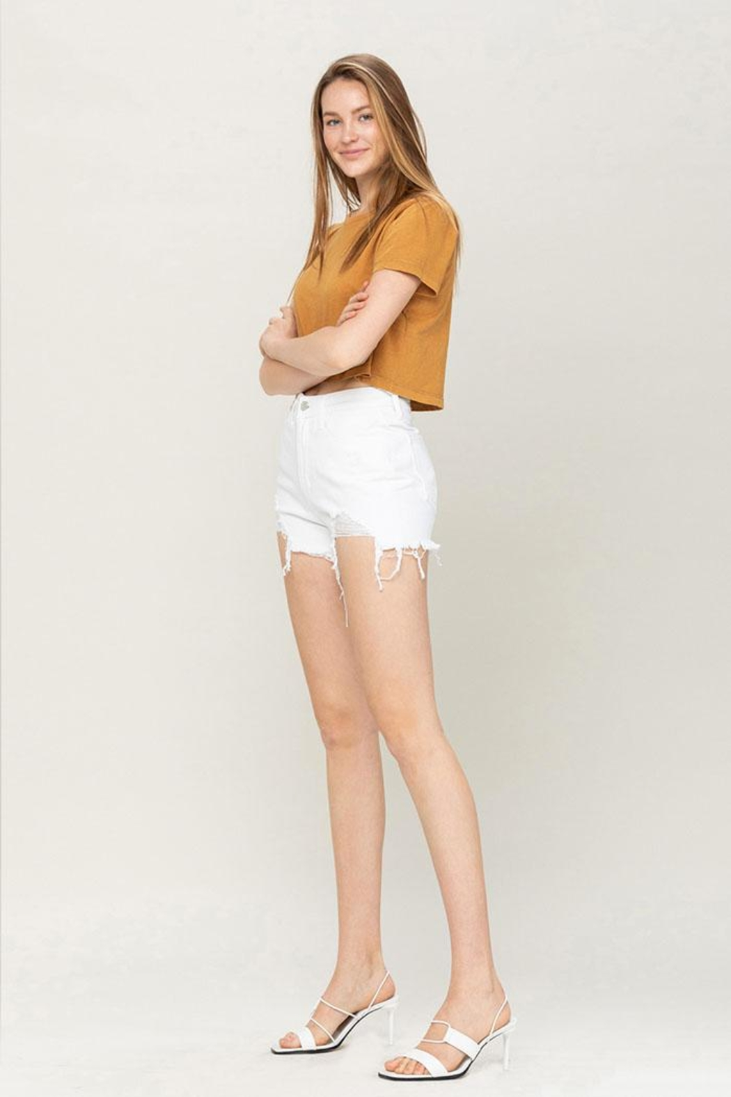 Vervet High-Rise Distressed Shorts - Front Full Image