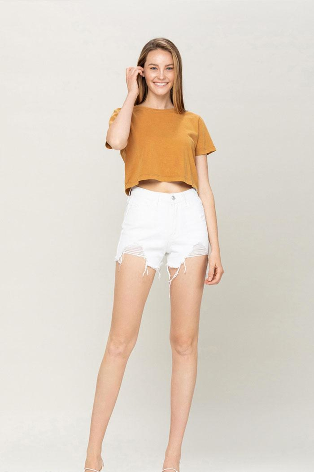 Vervet High-Rise Distressed Shorts - Main Image